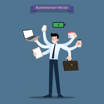 Uomo d'affari con il concetto di carico di lavoro di molte mani.