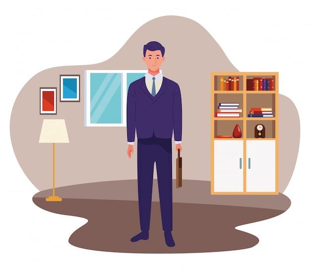 Uomo d'affari con il fumetto del lavoratore della cartella