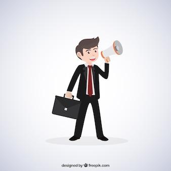 Uomo d'affari con il megafono e valigetta