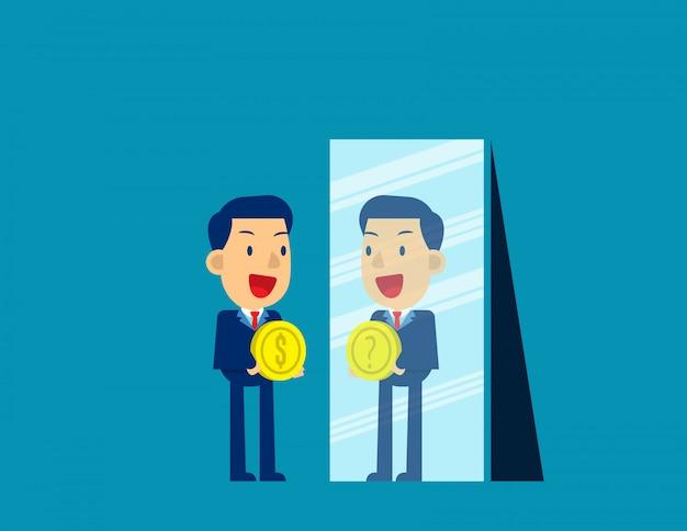 Uomo d'affari con il simbolo di dollaro mentre specchio