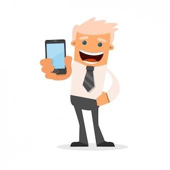 Uomo d'affari con il suo telefono