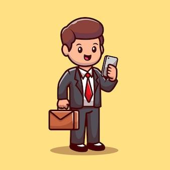 Uomo d'affari con il telefono e la valigia cartoon