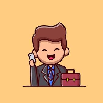 Uomo d'affari con il telefono e la valigia icona del fumetto illustrazione. persone professione icona concetto isolato. stile cartone animato piatto