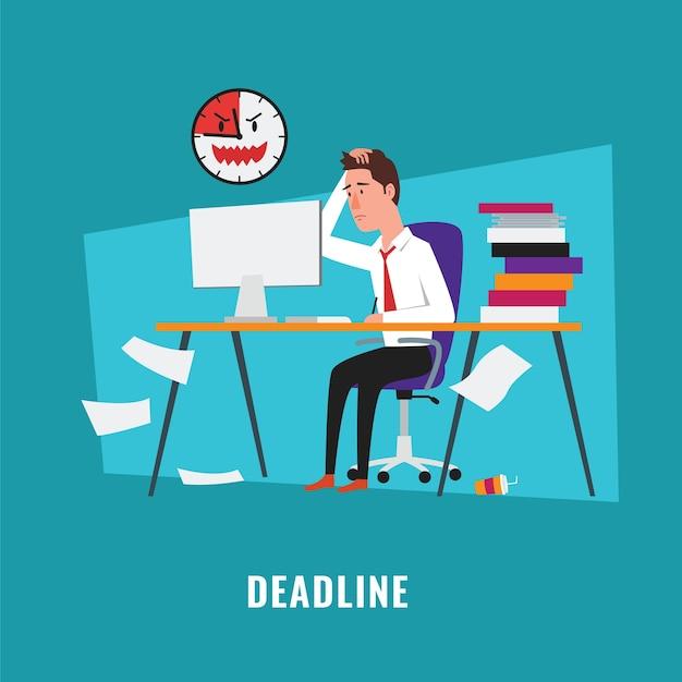 Uomo d'affari con illustrazione di scadenza del progetto