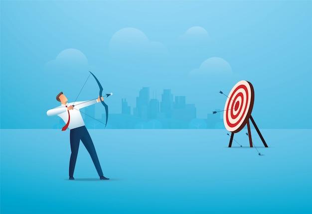 Uomo d'affari con l'arco che mira all'obiettivo. attività commerciale