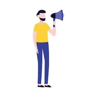 Uomo d'affari con l'icona di pubblicità o promozione del megafono.