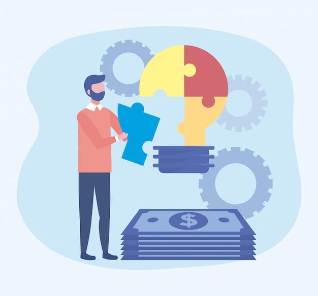 Uomo d'affari con l'idea e le fatture della lampadina di puzzle