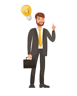 Uomo d'affari con l'illustrazione di vettore di idea di partenza