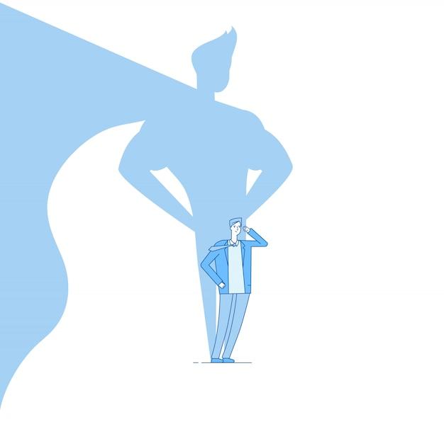 Uomo d'affari con l'ombra del supereroe