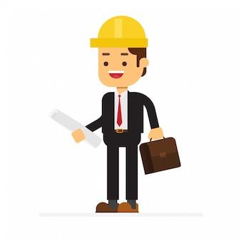 Uomo d'affari con la cartella e rotoli di costruzione del progetto