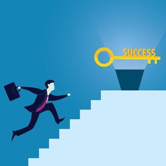 Uomo d'affari con la chiave del successo