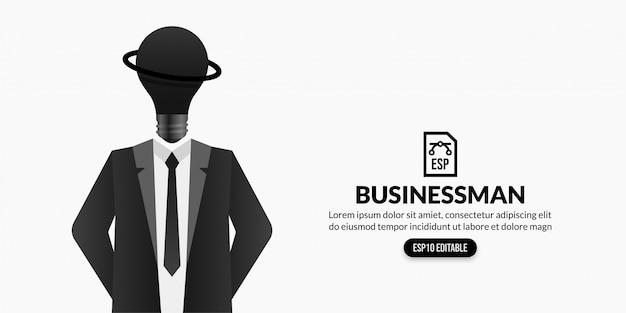 Uomo d'affari con la lampadina invece di fondo capo, concetto creativo di idea