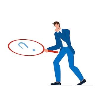 Uomo d'affari con la lente di ingrandimento alla ricerca indizio