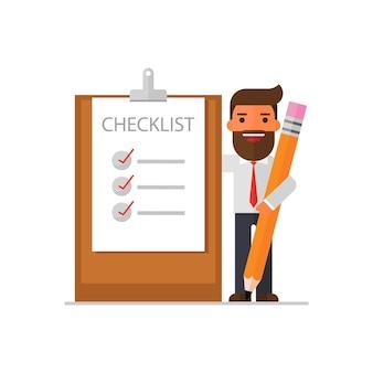 Uomo d'affari con la lista di controllo segnata su un blocco per appunti