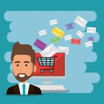 Uomo d'affari con le icone di marketing e-mail
