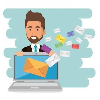 Uomo d'affari con le icone di marketing e-mail