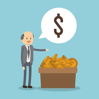 Uomo d'affari con le monete sulla scatola