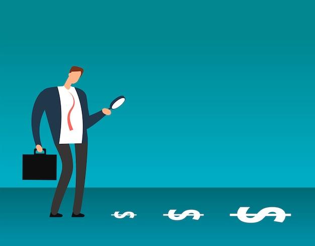 Uomo d'affari con lente d'ingrandimento guardando simboli del dollaro. alla ricerca di concetto di vettore di affari di profitto