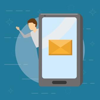 Uomo d'affari con lo smartphone con la busta, concetto del email, stile piano