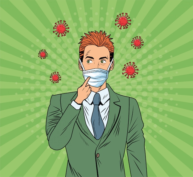 Uomo d'affari con maschera facciale e covid19 particelle pop art style