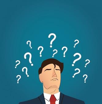 Uomo d'affari con molti punti interrogativi