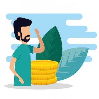 Uomo d'affari con monete e foglie