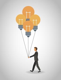 Uomo d'affari con palloncini lampadina