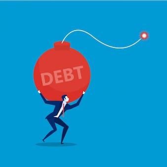 Uomo d'affari con portare bomba del debito. illustrazione piatta