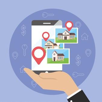 Uomo d'affari con posizione mappa smartphone e case proprietà