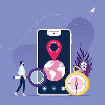 Uomo d'affari con smartphone e app di navigazione mobile, pin punto di destinazione
