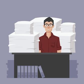Uomo d'affari con un mucchio di carte e documenti d'ufficio