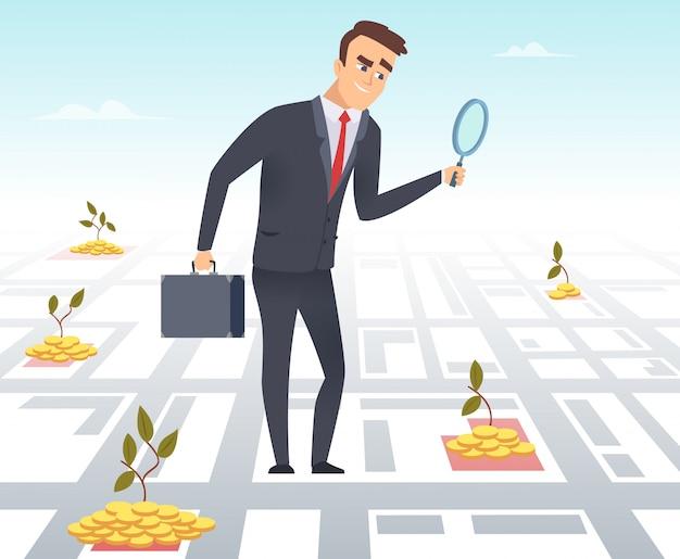 Uomo d'affari con una lente d'ingrandimento che cerca l'illustrazione dei soldi