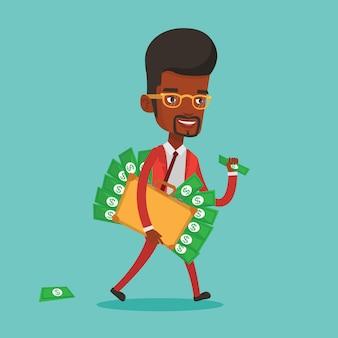 Uomo d'affari con valigetta piena di soldi.