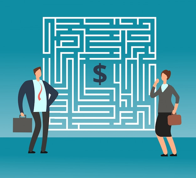 Uomo d'affari confuso che pensa come passare labirinto e ottenere soldi. lavoro di squadra e concetto di vettore di carriera