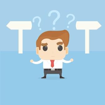 Uomo d'affari confuso con la scelta