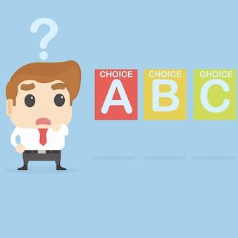 Uomo d'affari confuso con molte scelte