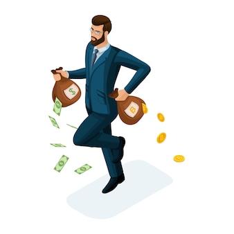 Uomo d'affari corre, scappa, perde denaro, il concetto di perdere denaro cercando di risparmiare investimenti. illustrazione di un investitore finanziario