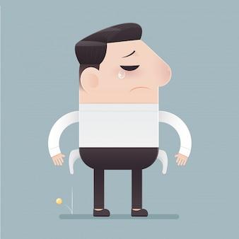 Uomo d'affari del fumetto in abiti da lavoro e cattiva economia. donne che perdono soldi da una borsa. il concetto di illustrazione aziendale.