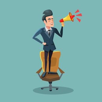 Uomo d'affari del fumetto in piedi sulla sedia con il megafono. annuncio.
