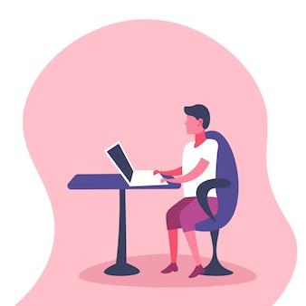 Uomo d'affari dell'illustrazione che per mezzo del computer portatile all'ufficio