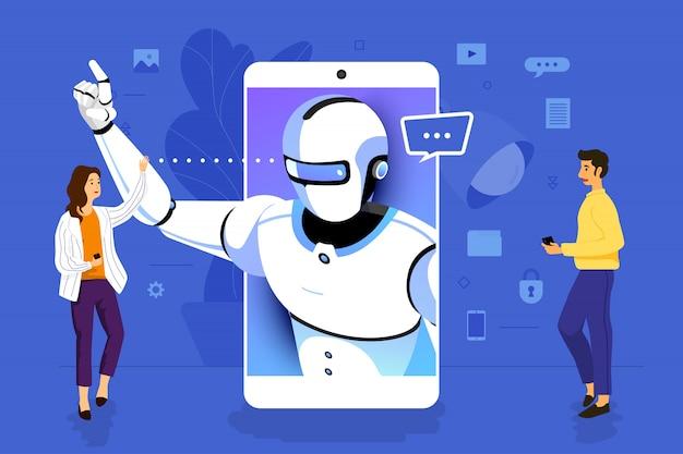 Uomo d'affari di concetto dell'illustrazione che lavora all'applicazione mobile insieme costruendo intelligenza artificiale. illustrare.