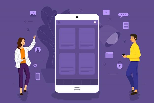 Uomo d'affari di concetto dell'illustrazione che lavora all'applicazione mobile insieme costruendo la piattaforma. illustrare.