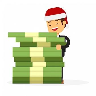 Uomo d'affari di natale che tiene i soldi del pacchetto regalo enorme
