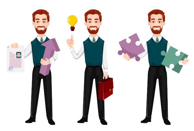 Uomo d'affari di successo, set di tre pose