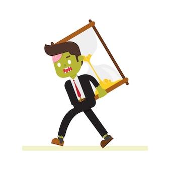 Uomo d'affari di zombie che trasporta clessidra gigante