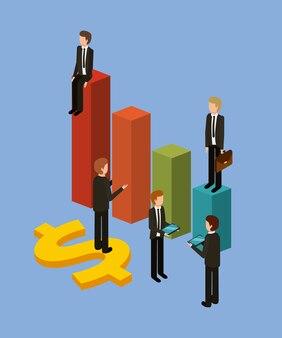 Uomo d'affari differente che sta sugli istogrammi il loro stato finanziario