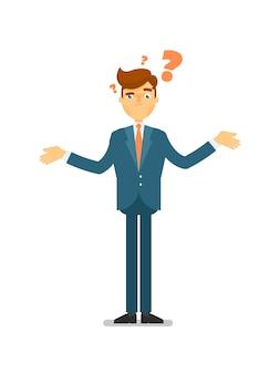 Uomo d'affari dubbioso che fa il carattere di domanda