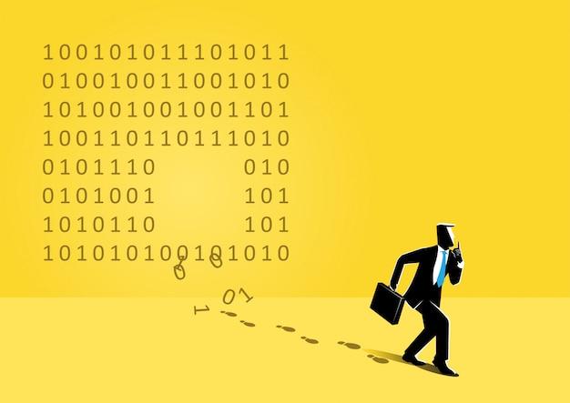 Uomo d'affari e codice binario