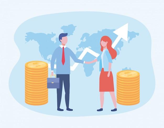 Uomo d'affari e donna d'affari con monete e freccia con la valigia