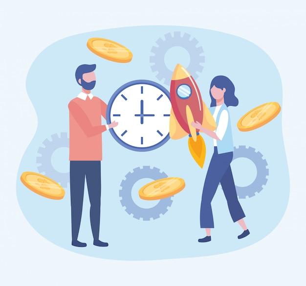 Uomo d'affari e donna d'affari con orologio e razzo con monete